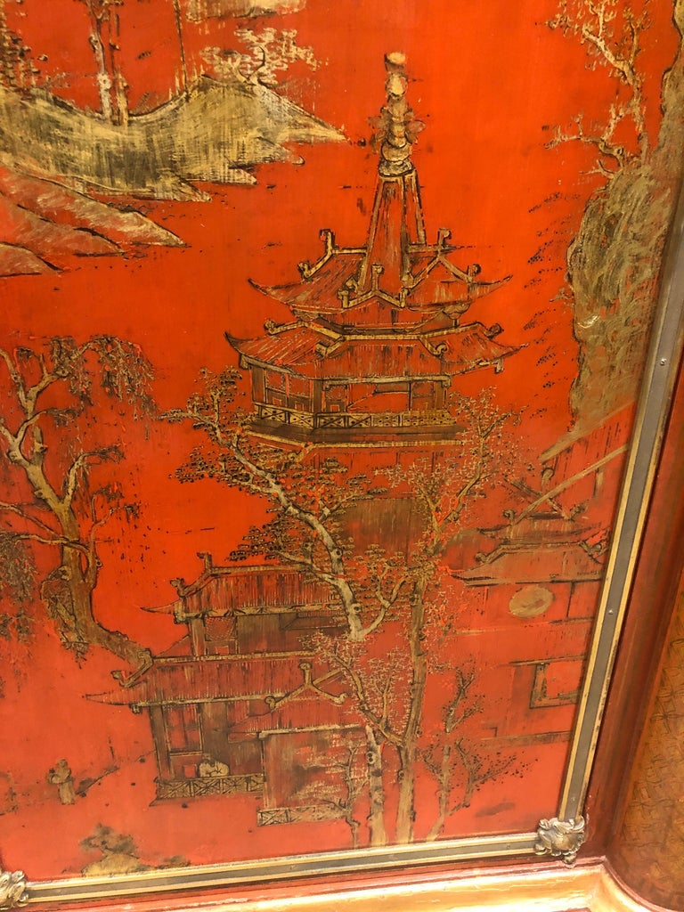 19th Century Wood Painted Gold Napoleon III Chinoiserie with Marble, 1860s For Sale 4