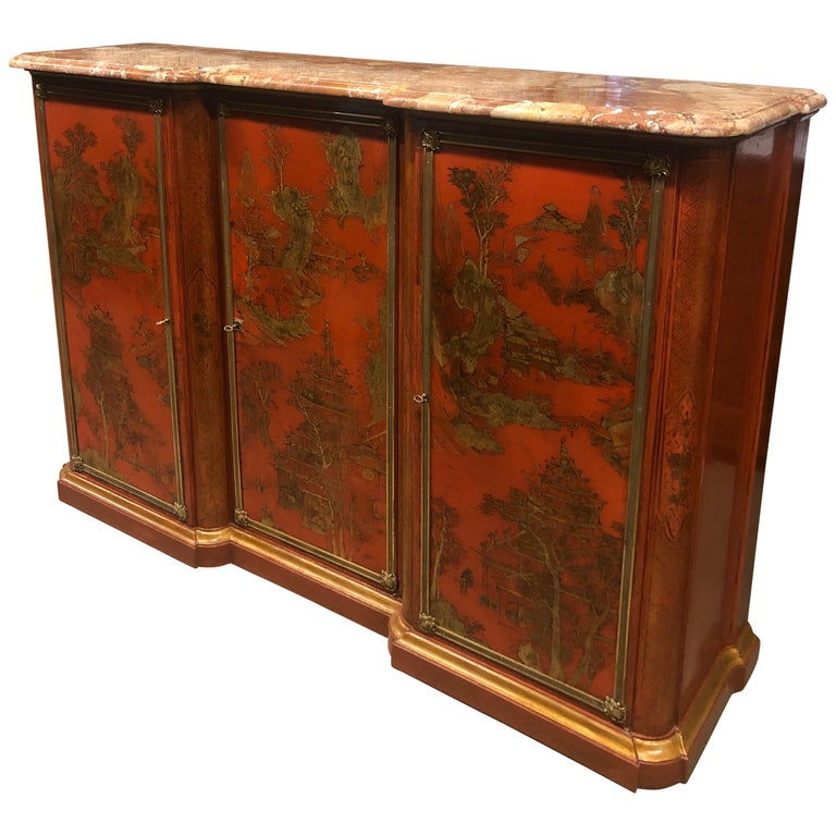19th Century Wood Painted Gold Napoleon III Chinoiserie with Marble, 1860s For Sale