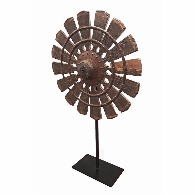 Metal 19th Century Wood Spinning Wheel from Thailand, on Stand For Sale