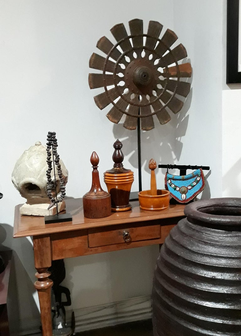 19th Century Wood Spinning Wheel from Thailand, on Stand For Sale 2