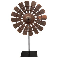 19th Century Wood Loom Wheel from Thailand, on Stand