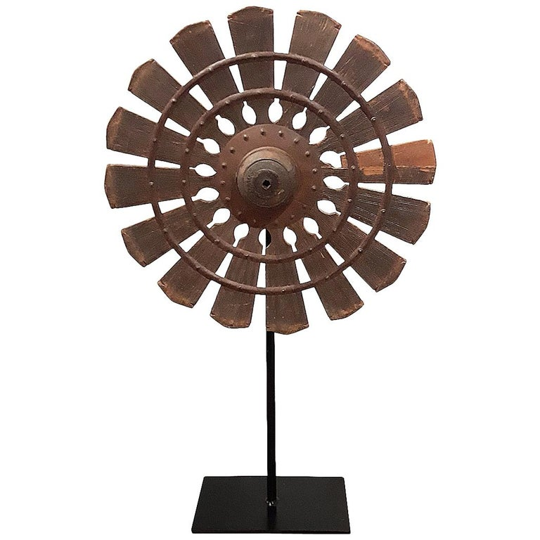 19th Century Wood Spinning Wheel from Thailand, on Stand For Sale