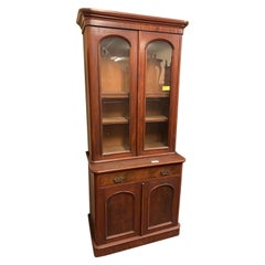 19th Century Wood Victorian Mahogany Bookcase H.Goodall Newcastle, 1890s