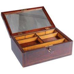 19th Century Wooden Box with Mirror, Jewelry Box in Walnut, Germany, circa 1840