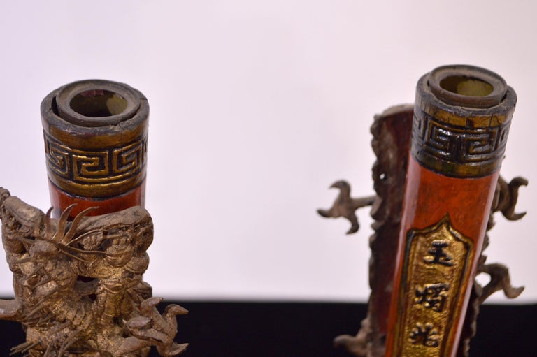 19th Century Wooden Candleholders For Sale 6