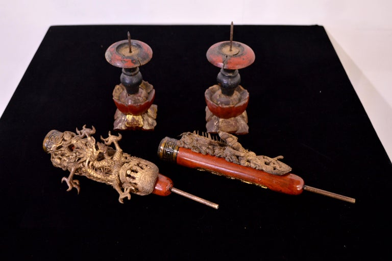 19th Century Wooden Candleholders For Sale 7