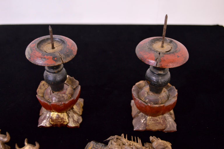 19th Century Wooden Candleholders For Sale 8