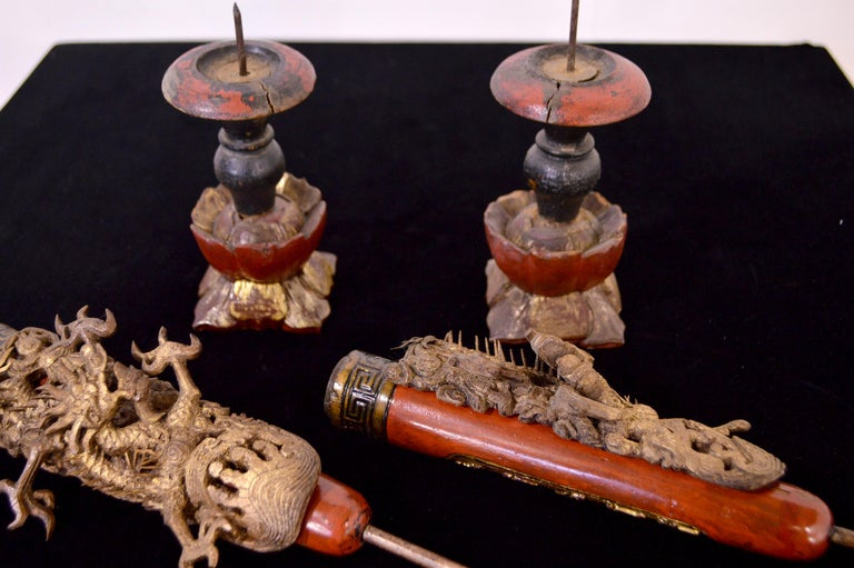 19th Century Wooden Candleholders For Sale 9