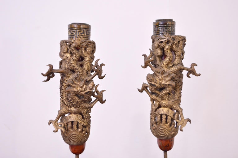 Ming 19th Century Wooden Candleholders For Sale