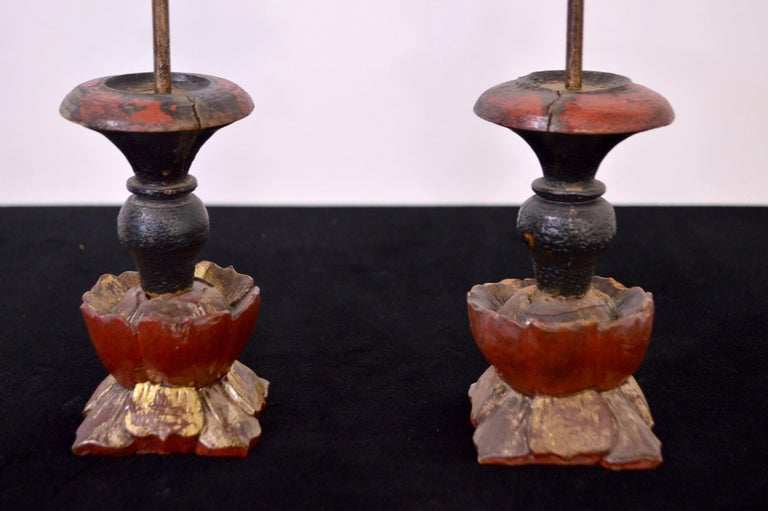 19th Century Wooden Candleholders In Excellent Condition For Sale In CILAVEGNA, IT