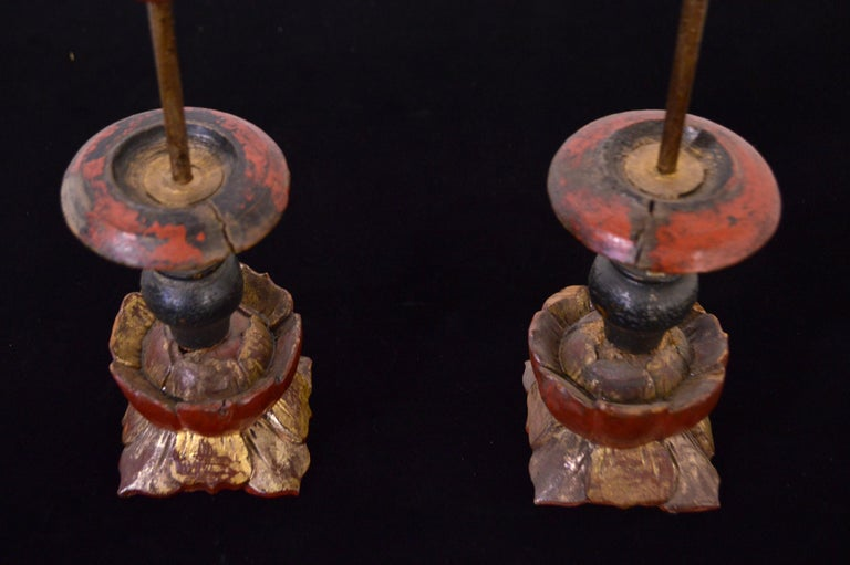 Late 19th Century 19th Century Wooden Candleholders For Sale