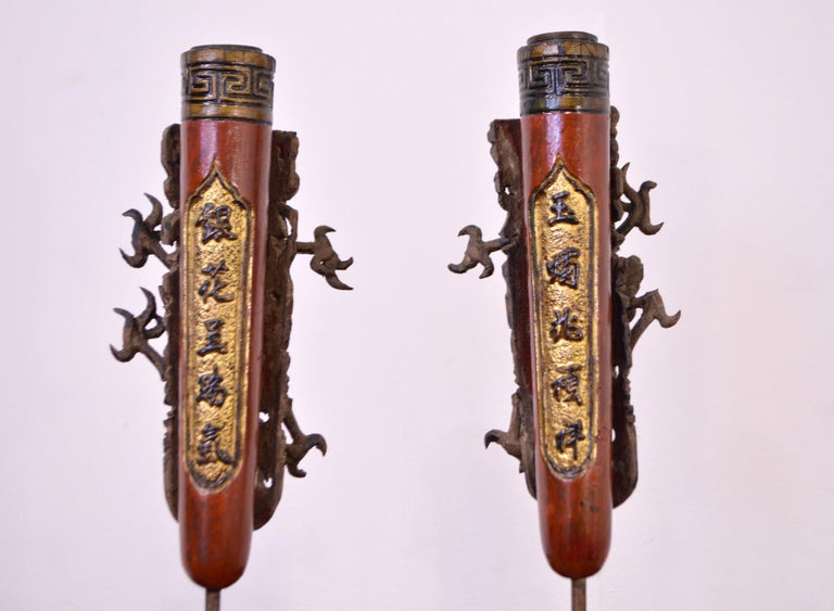 19th Century Wooden Candleholders For Sale 2