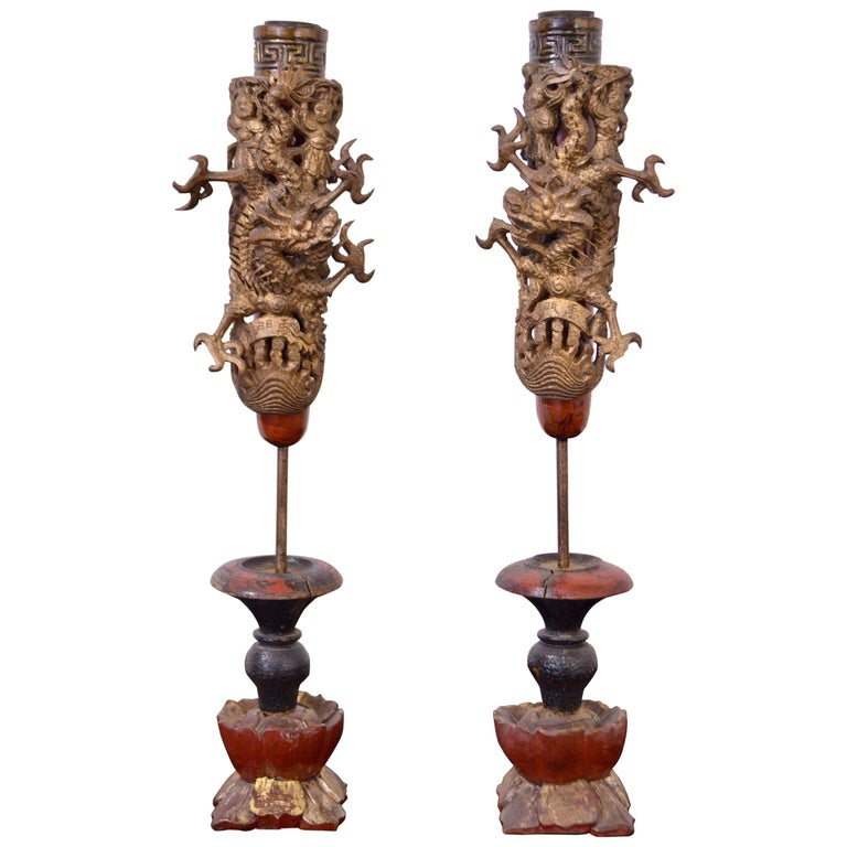 19th Century Wooden Candleholders For Sale