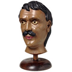 19th Century Wooden Carnival, Fair or Advertisement Head of the Strongest Man