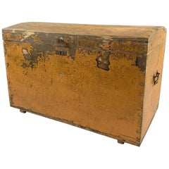 19th Century Wooden Chest or Floor Trunk, Original Paint