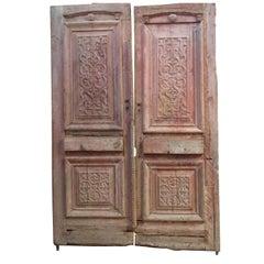 19th Century Wooden Double Door Portal in Art Nouveau Style