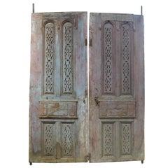 19th Century Wooden Double Door Portal in Art Nouveau Style, Spain
