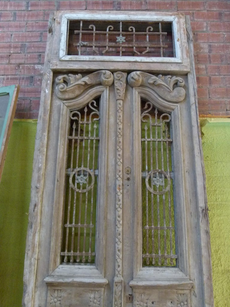 Spanish 19th Century Wooden Double Front Door in Art Nouveau Style For Sale