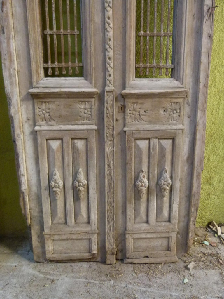 Carved 19th Century Wooden Double Front Door in Art Nouveau Style For Sale