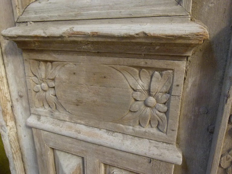 Iron 19th Century Wooden Double Front Door in Art Nouveau Style For Sale