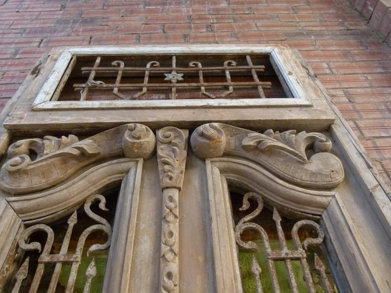 19th Century Wooden Double Front Door in Art Nouveau Style For Sale 2