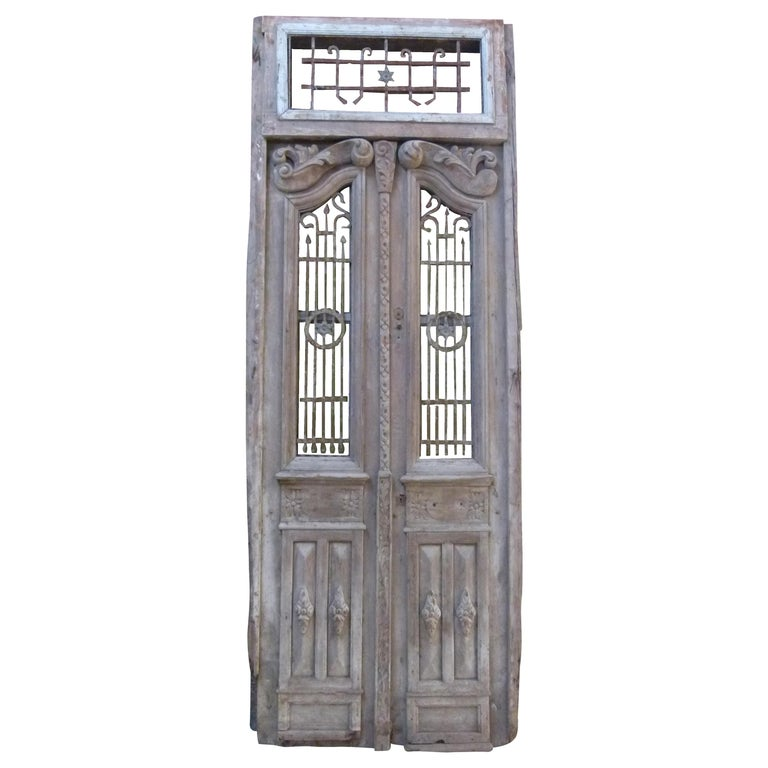 19th Century Wooden Double Front Door in Art Nouveau Style For Sale