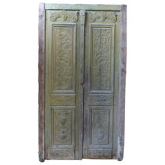 19th Century Wooden Double Front Door in Art Nouveau Style