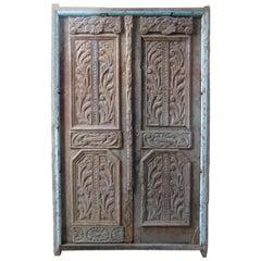 19th Century Wooden Double Front Door in Art Nouveau Style, Spain