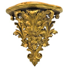 19th Century Wooden Gilded and Hand Carved Acanthus Leaves Wall Shelf Console