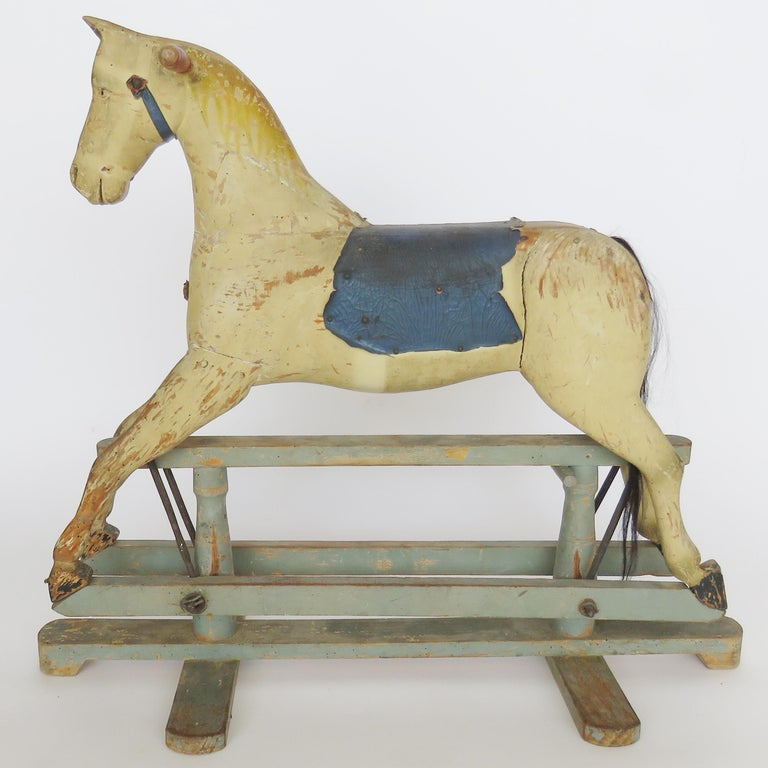 19th century wooden rocking horse for sale at 1stdibs. Black Bedroom Furniture Sets. Home Design Ideas