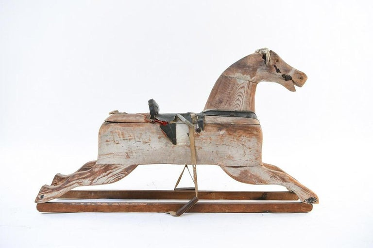 Country 19th Century Wooden Rocking Horse For Sale