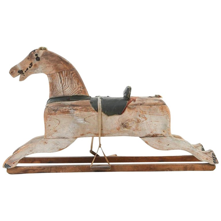 19th Century Wooden Rocking Horse For Sale