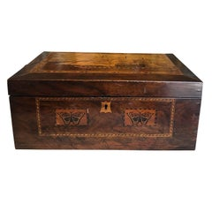 19th Century Wooden Sewing Box with Ship Inlaid