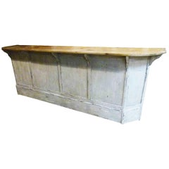 19th Century Wooden Store Counter, White Patina
