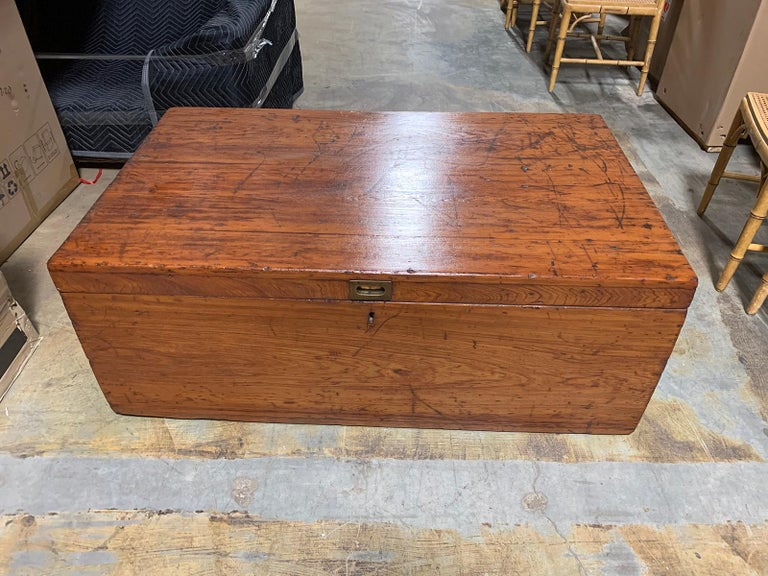 19th Century Wooden Trunk with Iron Handles, Large and Unusual Scale For Sale 13