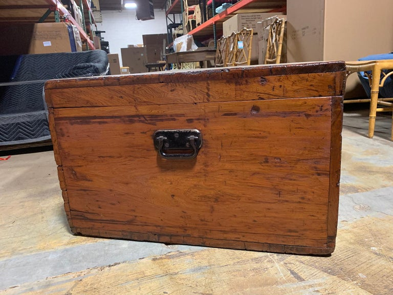 19th Century Wooden Trunk with Iron Handles, Large and Unusual Scale For Sale 2