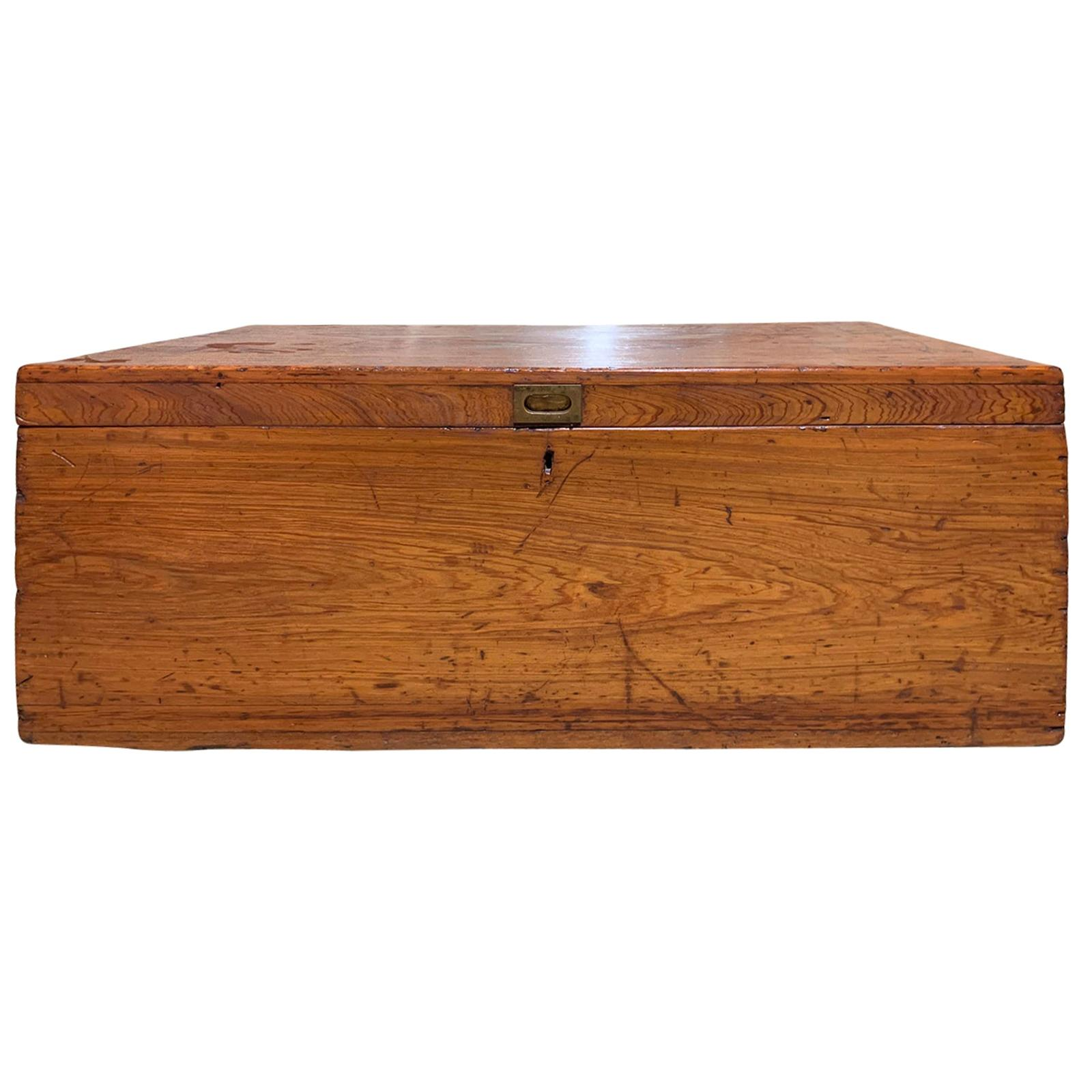 19th Century Wooden Trunk with Iron Handles, Large and Unusual Scale