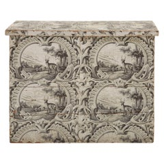 19th Century Wooden Wallpapered Chest