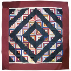 19th Century Wool Log Cabin Quilt from Pennsylvania