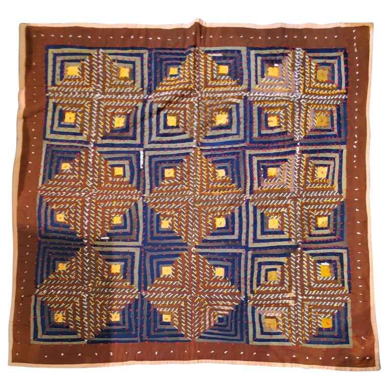 19th Century Wool Tied Comforter / Quilt For Sale