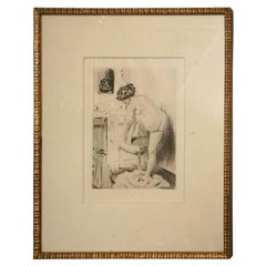 19th Century Work of Art Etching by Almery Lobel Riche Custom Framed French