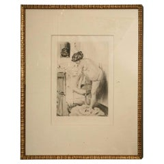 19th Century Work of Art Etching by Almery Lobel Riche Custom Framed, French