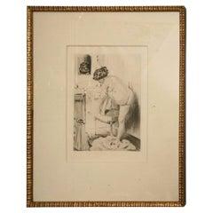 19th Century Work of Art Etching by Almery Lobel Riche Custom Framed, French
