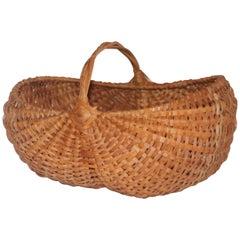 19th Century Woven Buttocks Basket