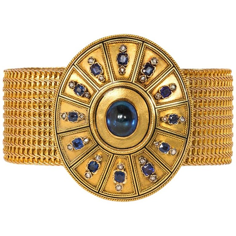 19th Century Woven Gold Bracelet with Removable Sapphire and Diamond Centerpiece For Sale