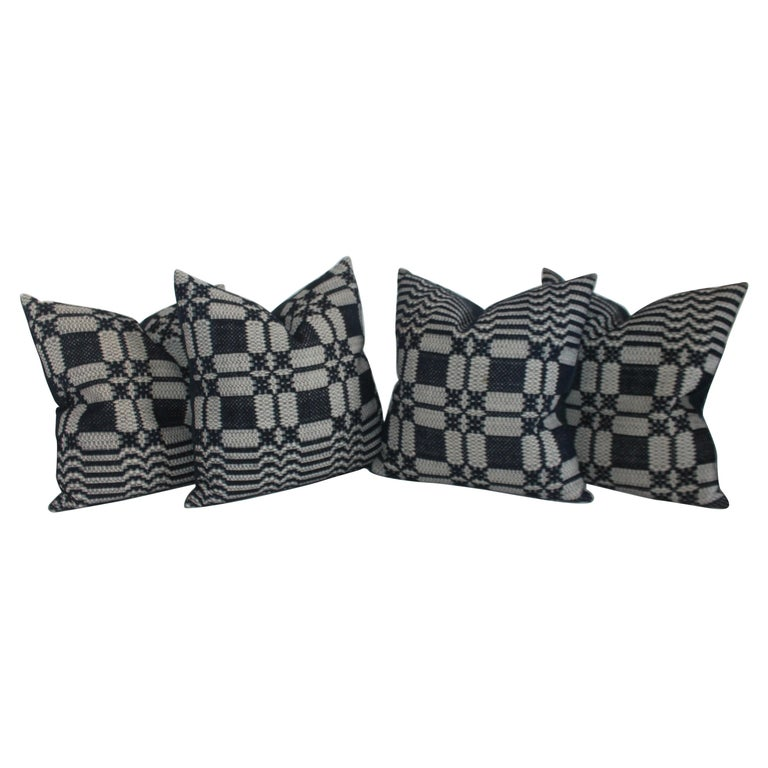 19th Century Woven Jacquard Coverlet Pillows, Collection of Four For Sale