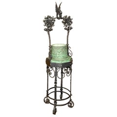 19th Century Wrought Iron and Stone Jardinière or Garden Planter