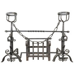 19th Century Wrought Iron Andiron Fireplace Set