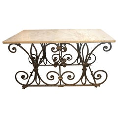 19th Century Wrought Iron Bakers Table