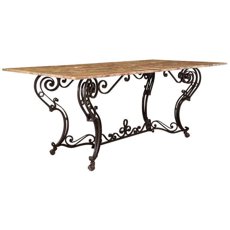 19th Century Wrought Iron Base and Marble Top Center Table In Good Condition For Sale In West Palm Beach, FL